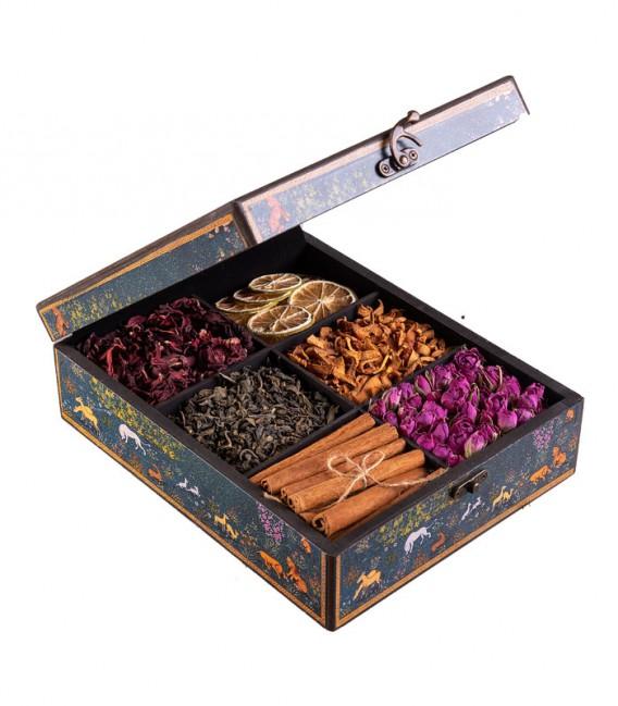 جعبه دکوپاژ مستطیل بزرگ طرح گل و مرغ